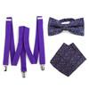3pc Men's Purple Clip-on Suspenders, Floral Bow Tie & Hanky Sets - FYBTHSU-PUR#4