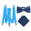 3pc Men's Turquoise Clip-on Suspenders, Dots Bow Tie & Hanky Sets - FYBTHSU-TURQ#2