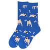 Women's Novelty Pug Dog Socks - LNVS19408-BL