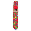 Men's Bright Floral Cotton Skinny Tie w/ Hanky and Flower Lapel Pin - CTHL1707