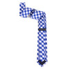 Men's Checkered Cotton Skinny Tie w/ Hanky and Flower Lapel Pin - CTHL1701