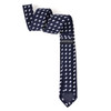 Men's Petite Bows Cotton Skinny Tie w/ Hanky and Flower Lapel Pin - CTHL1704-NV