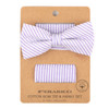 Men's Striped Seersucker Cotton Bow Tie & Hanky Set - CTBH1732