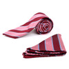 Striped & Solid Tie with Matching Hanky Box Set - THX12-BUR-1