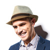 Spring/Summer Two-Tone Fashion Fedora with Brown Band FSS17105