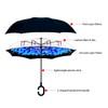 Bright Blue Flower Mosaic Double Layer Inverted Umbrella - UM18077