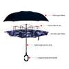Blue Leaf Batik Double Layer Inverted Umbrella - UM18078
