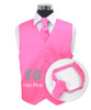 """Hot Pink"" Poly Solid Satin Cravat FC1701-16"
