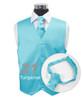 """Turquoise"" Poly Solid Satin Cravat FC1701-21"
