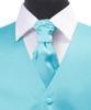 Turquoise Poly Solid Satin Cravat FC1701-21