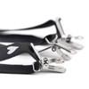 Men's Y-Back White Heart Adjustable Elastic Black Clip-on Suspenders