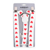 Men's Y-Back Red Heart Adjustable Elastic White Clip-on Suspenders