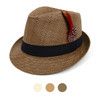Spring/Summer Woven Fedora Hat with Feather FSS17123
