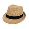 Spring/Summer Woven Fedora Hat with Black Band FSS17126