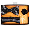 Striped Banded Bow Tie, Matching Hanky & Lapel Pin Set BTHLB07067M