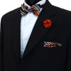 Striped Banded Bow Tie, Matching Hanky & Lapel Pin Set BTHLB07037M