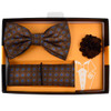 Geometric Pattern Banded Bow Tie, Matching Hanky & Lapel Pin Set BTHLB07043M