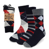 Assorted Pack (3 Pairs) Men's Grey & Red Casual Fancy Socks 3PKS/GRY2