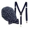 Boy's Navy Clip-on Suspender, Botanical Pattern Ivy Hat & Matching Bow Tie Set (BSBIV0807H3-3)