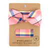 Men's Pink Plaid Cotton Bow Tie & Matching Pocket Square - CBTH1722