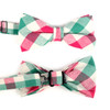 Men's Pink Green Plaid Cotton Bow Tie & Matching Pocket Square - CBTH1727