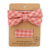 Men's Coral Plaid Cotton Bow Tie & Matching Pocket Square - CBTH1729