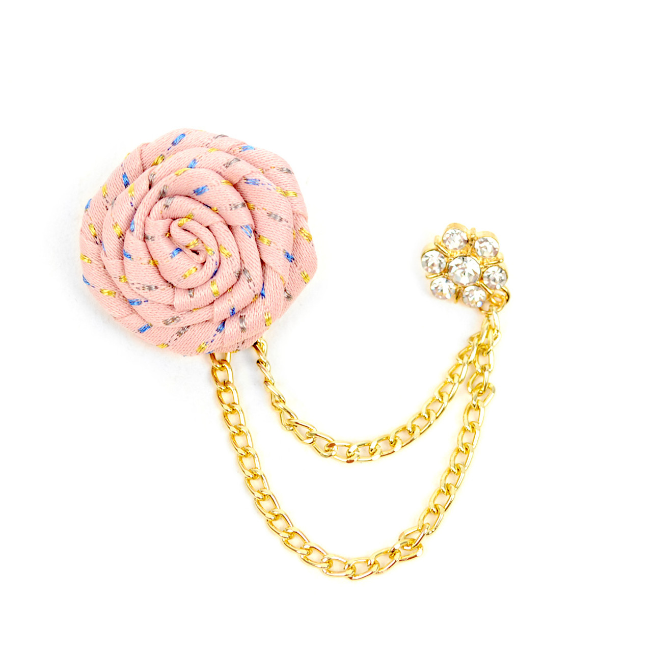 Men's Flower Boutonniere Clutch Back Lapel Pins with Chain - FLP1802