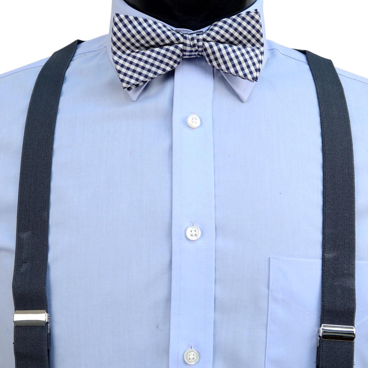 3dd094e29b5e 3pc Men's Charcoal Clip-on Suspenders, Checkered Bow Tie & Hanky Sets -  FYBTHSU-CHAR#1