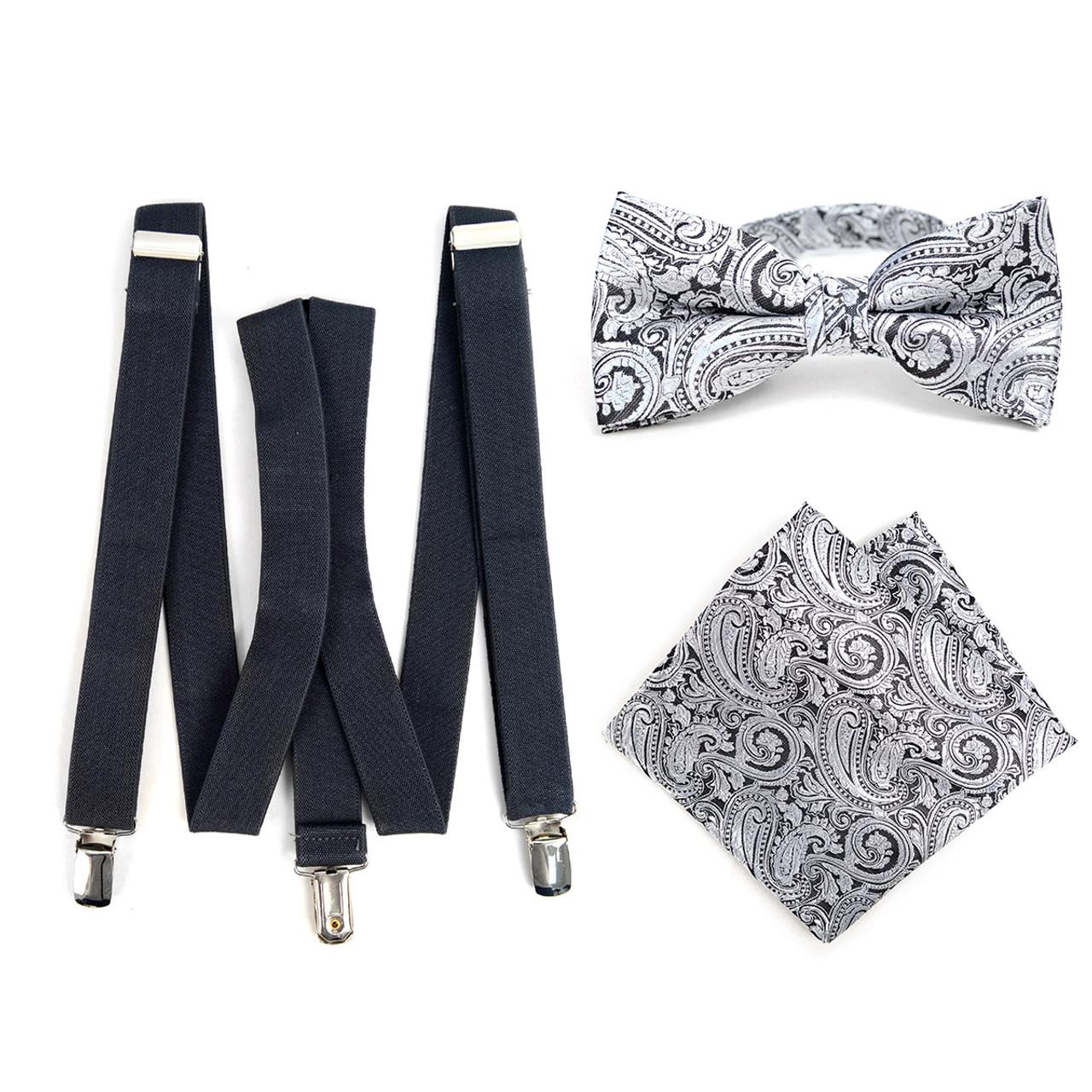 d737e67f99e6 3pc Men's Charcoal Clip-on Suspenders, Paisley Bow Tie & Hanky Sets -  FYBTHSU-CHAR#4