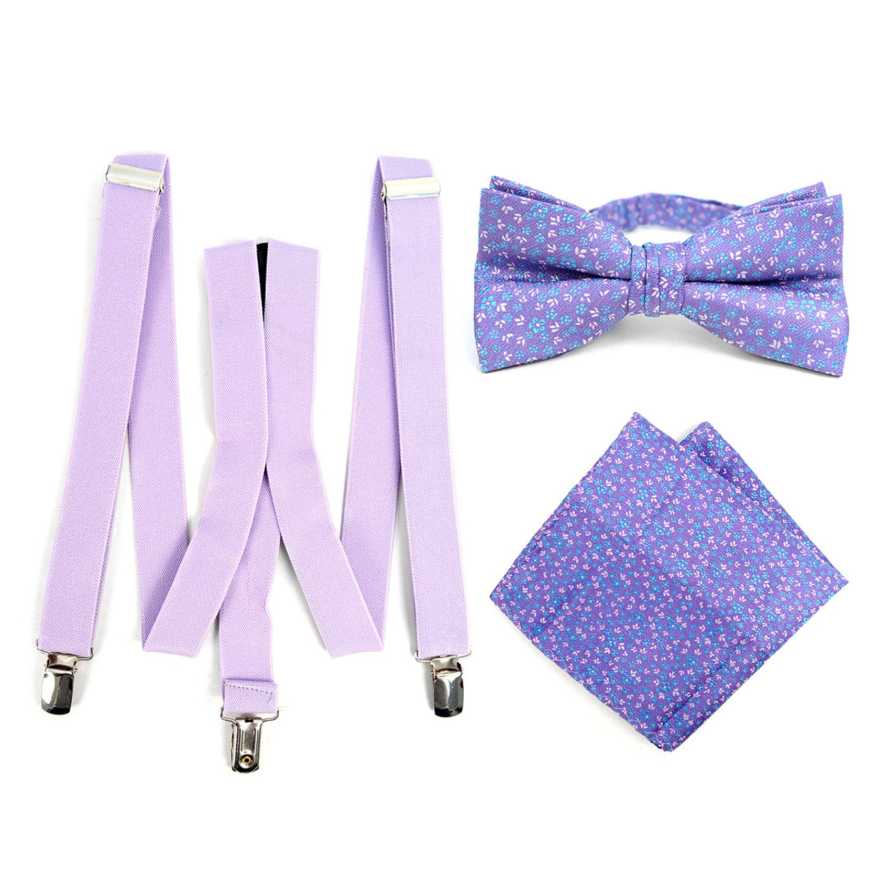 99d1a2f0c3fc 3pc Men's Lavender Clip-on Suspenders, Floral Bow Tie & Hanky Sets -  FYBTHSU-LAV#1