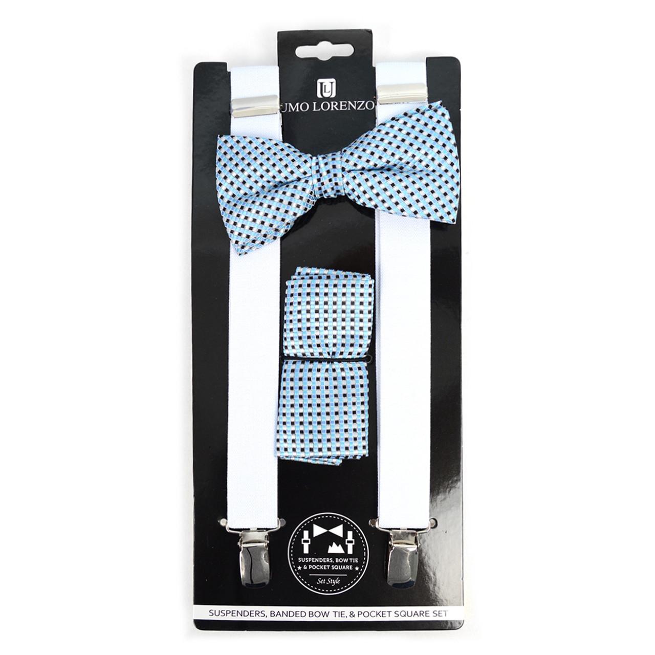 6c4c2cb2bec5 3pc Men's White Clip-on Suspenders, Dots Bow Tie & Hanky Sets - FYBTHSU-WH#2
