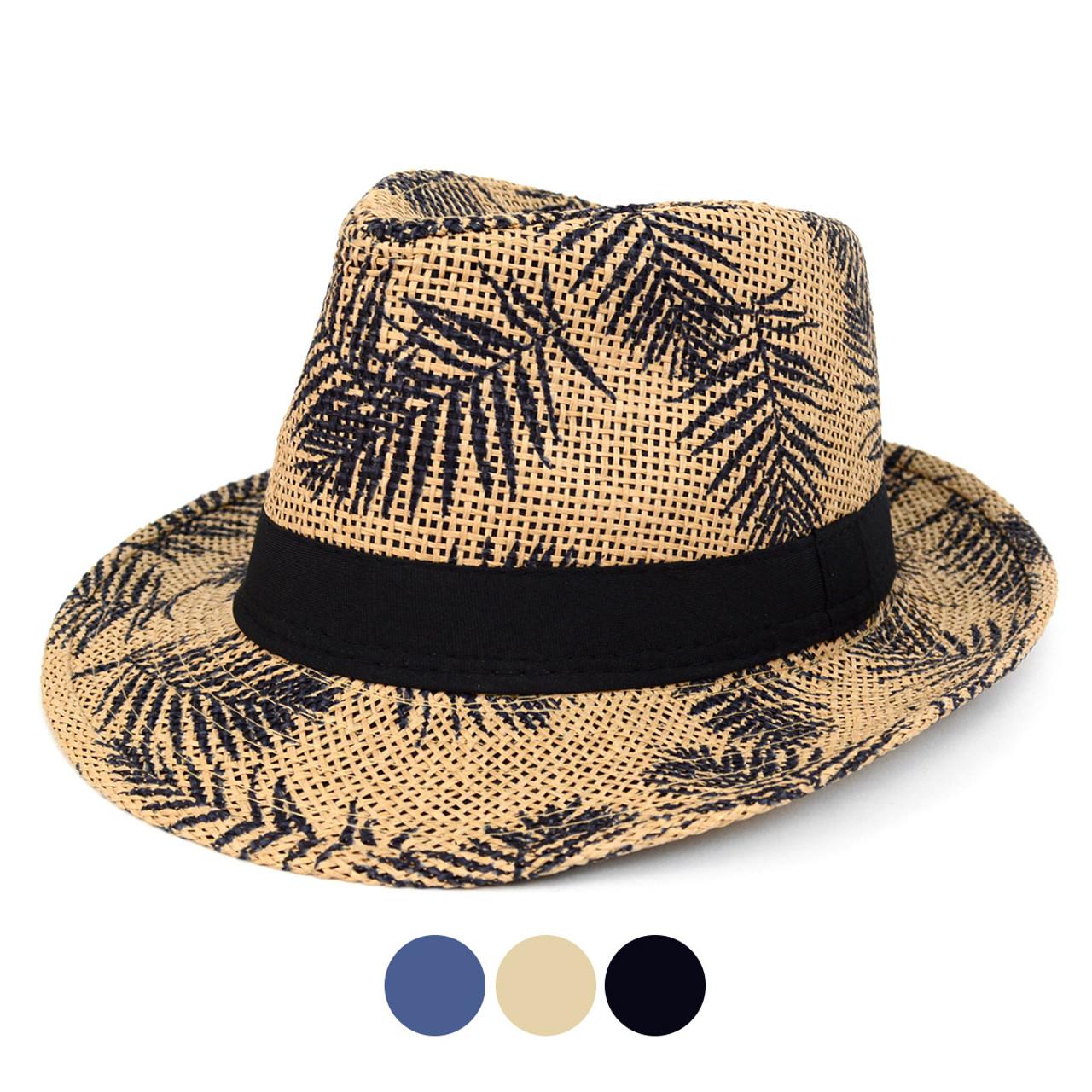 Tropical Palm Leaves Kid s Wide Brim Fedora Hat - BF180602 2d11c131bb1