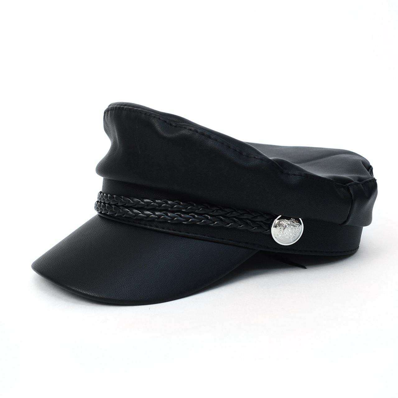 775d8744 Women's Spring/Summer Black Leather Baker Cap - LSBC1200