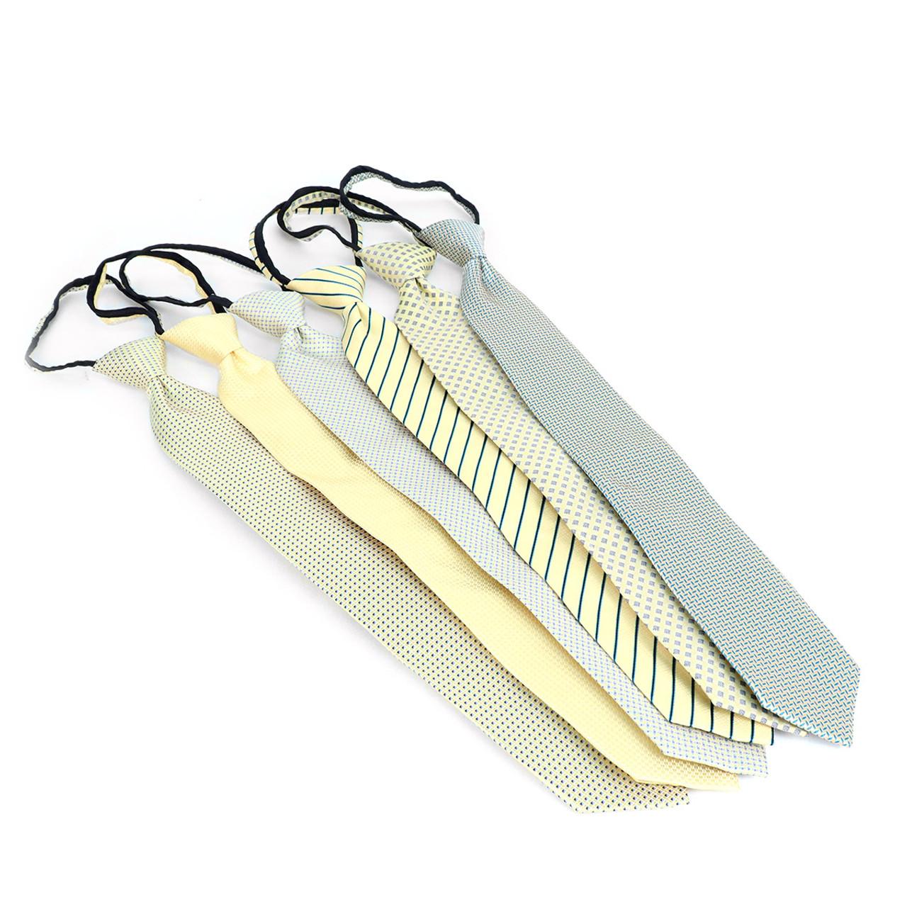 764c061a1a8a 6pc Microfiber Classic Yellow Zipper Pre-Tied Neckties - MPWZ-YW