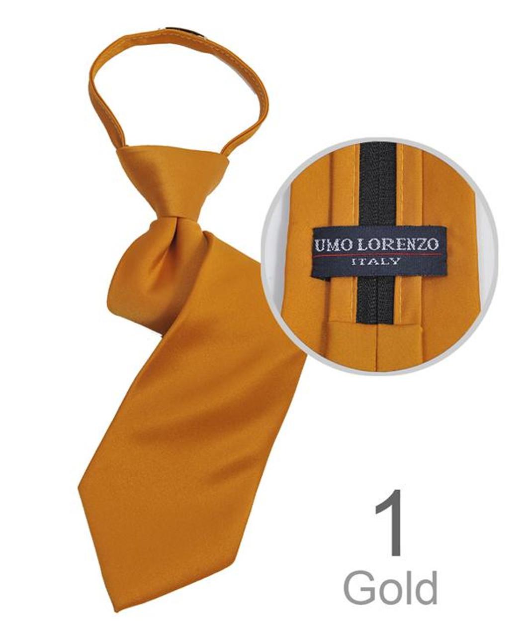 Umo Lorenzo Boys Poly Solid Satin Zipper Ties-Black