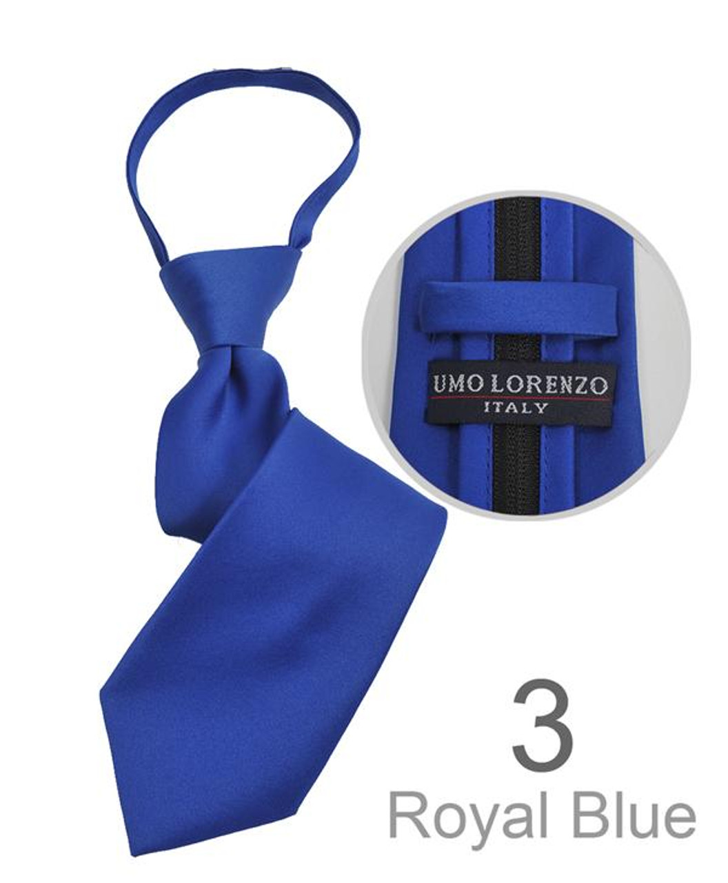 Umo Lorenzo Solid Style Boys Polyester Zipper Neckties-Royal Blue
