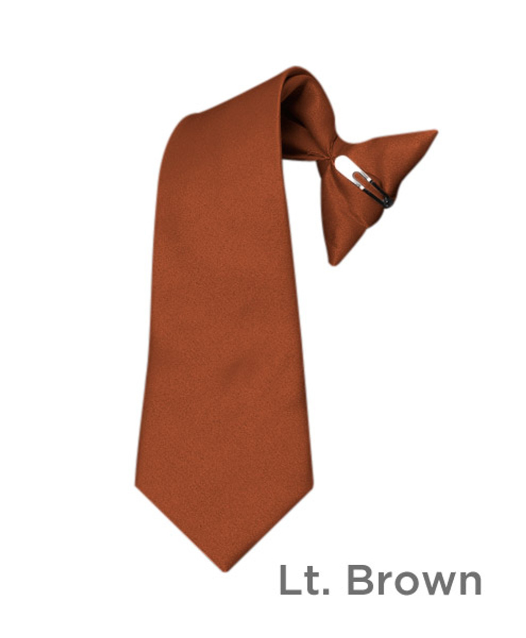 Dark Brown Poly Solid Clip On Tie