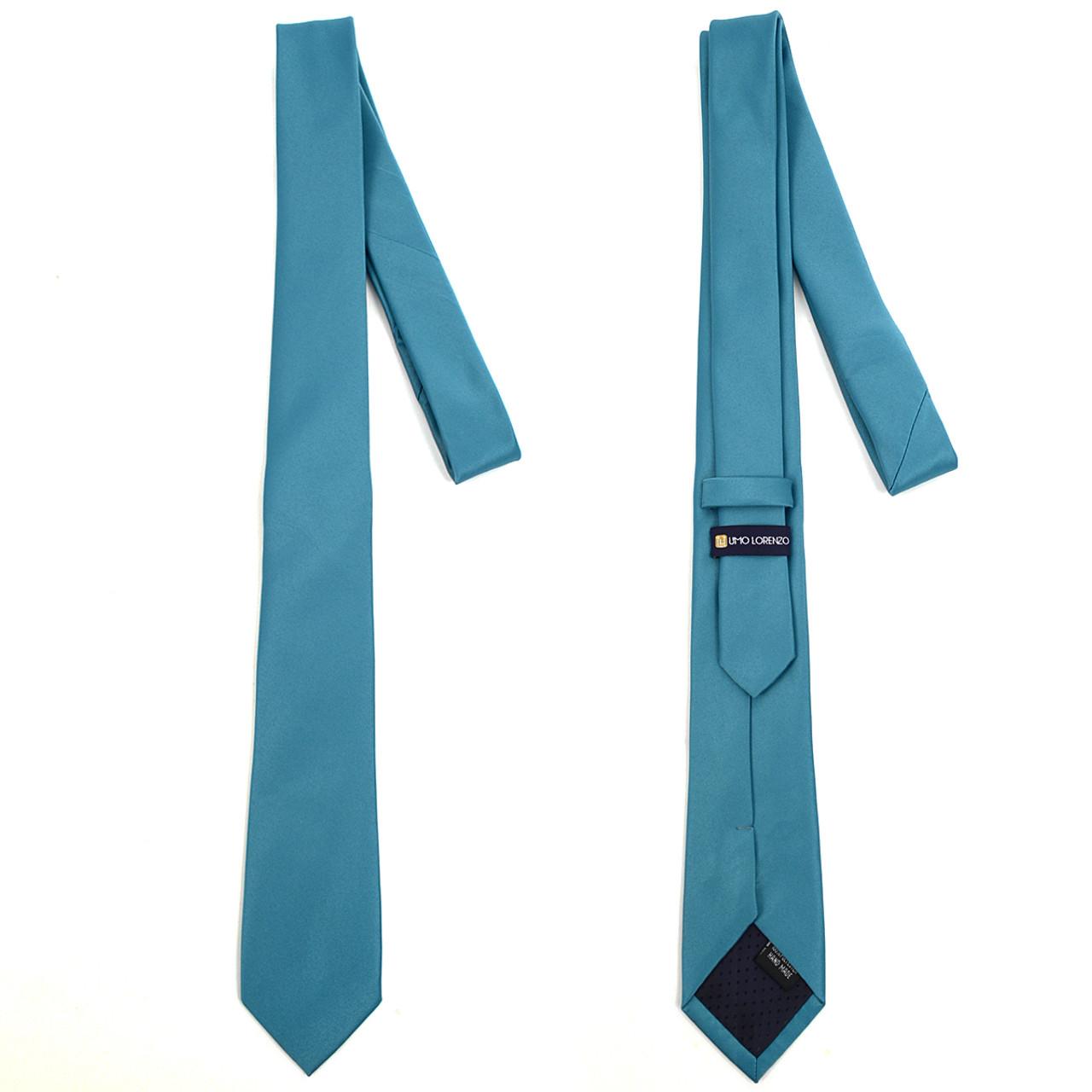 Umo Lorenzo Boys Poly Solid Satin Zipper Ties-Turquoise