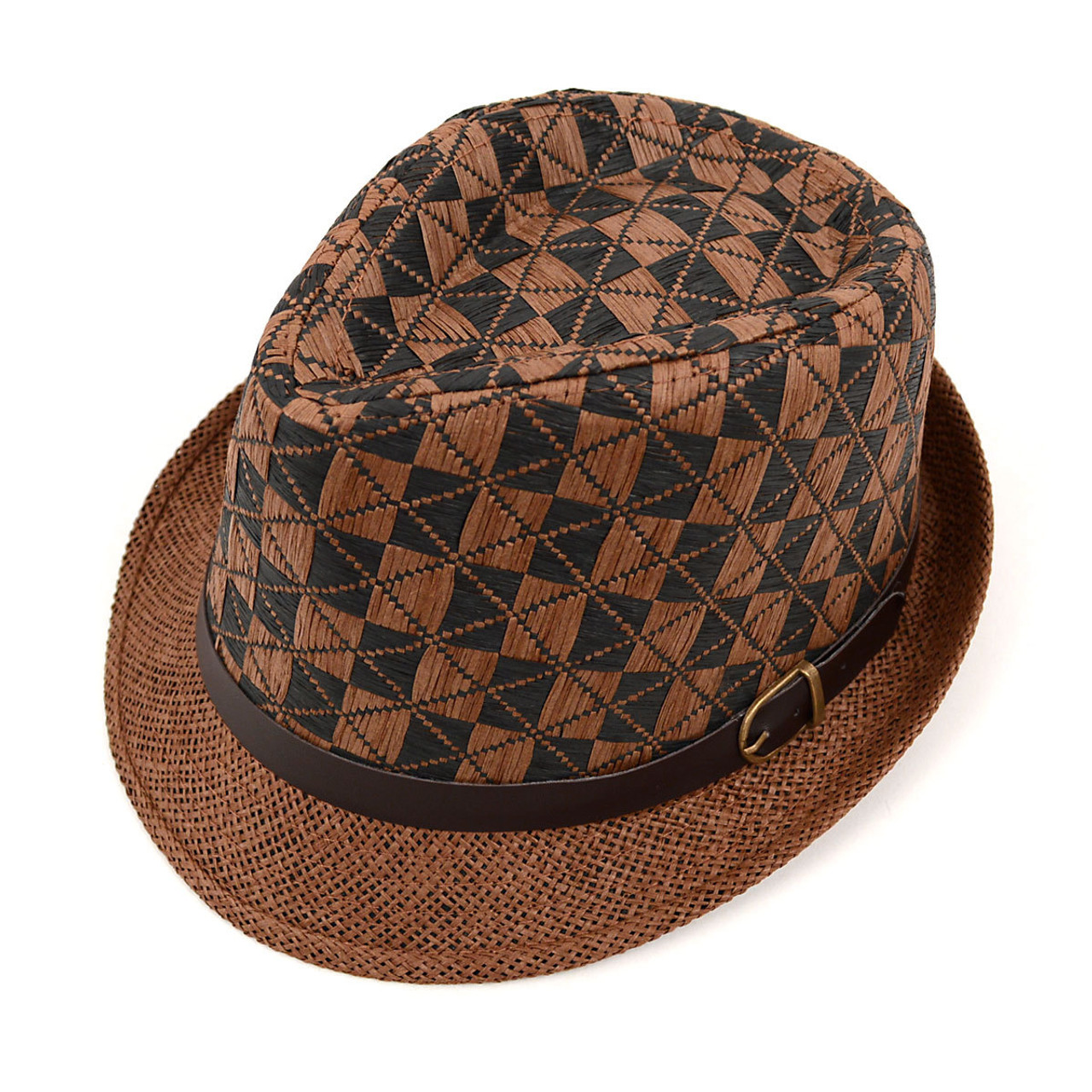 7d992ba125668 Spring Summer Two-Tone Woven Brown Fedora Hat with Faux Leather Trim -  H10209 ...