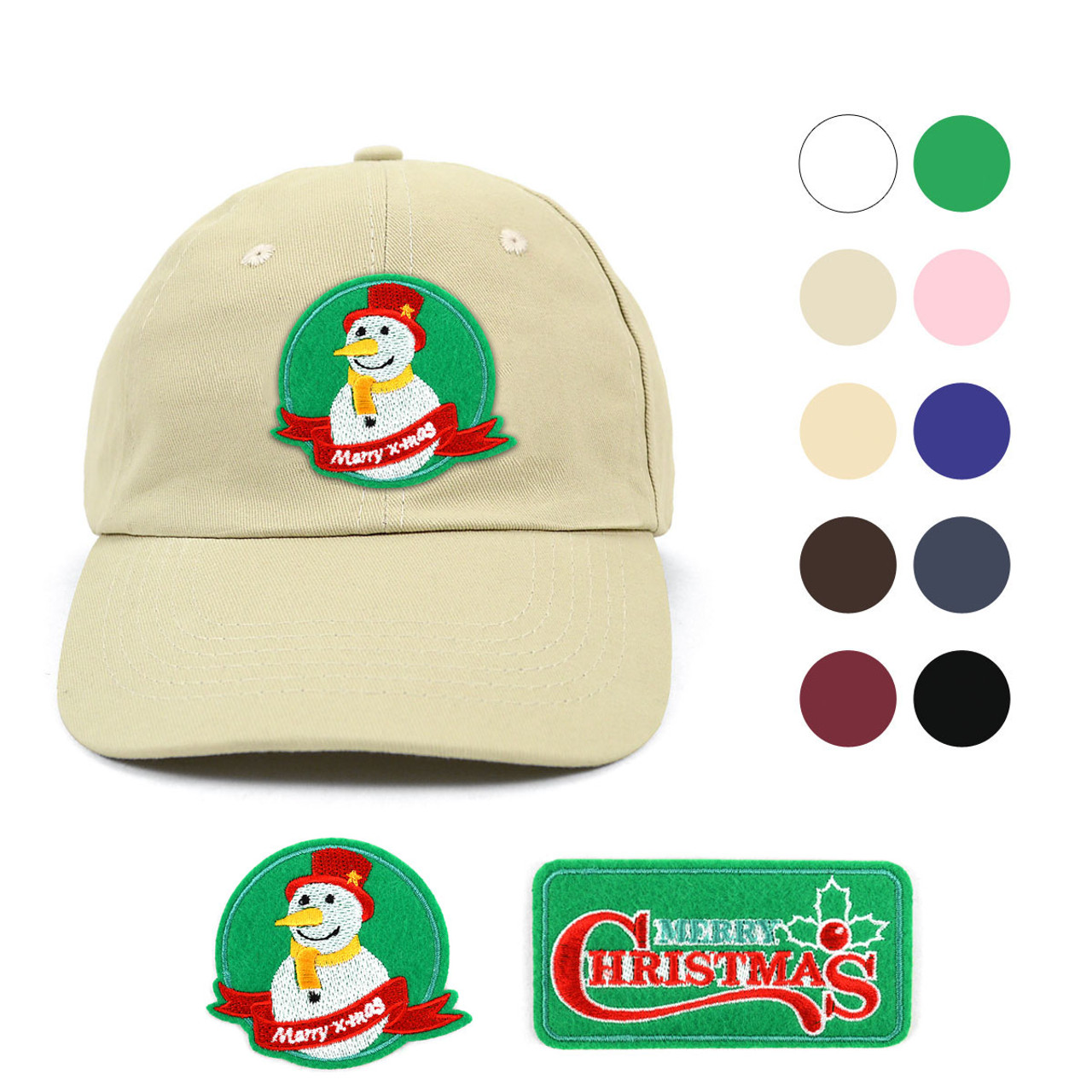 Winter Holiday Traditional Cotton Twill Embroidery Patch Blank Baseball Cap 8ae87214d946