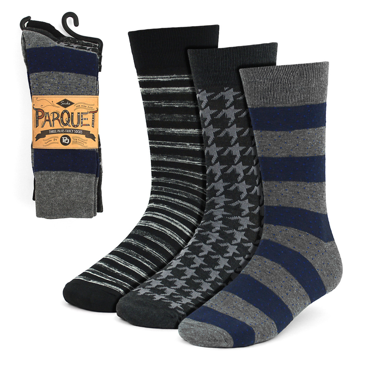 47e463f613e7 3pcs (3 Pairs) Men's Gray Striped Fancy Dress Socks 3PKS-DRSY7