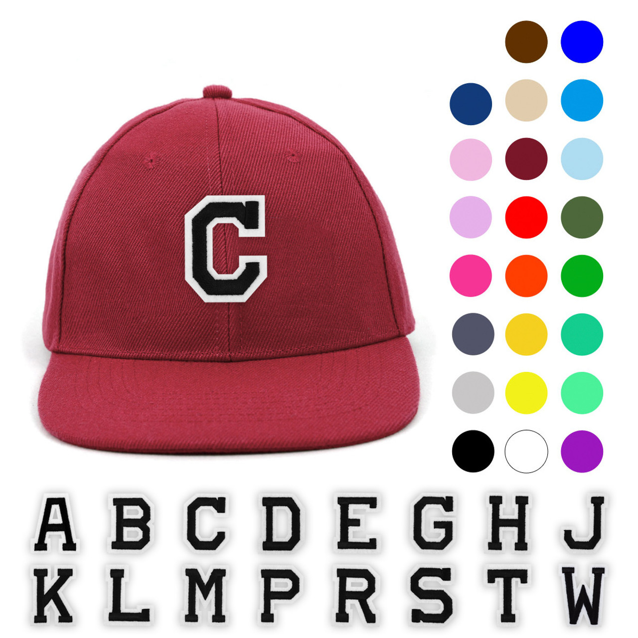 Varsity Letter Initials Promotional Solid Blank Embroidery Patch Baseball  Cap 27d933084683