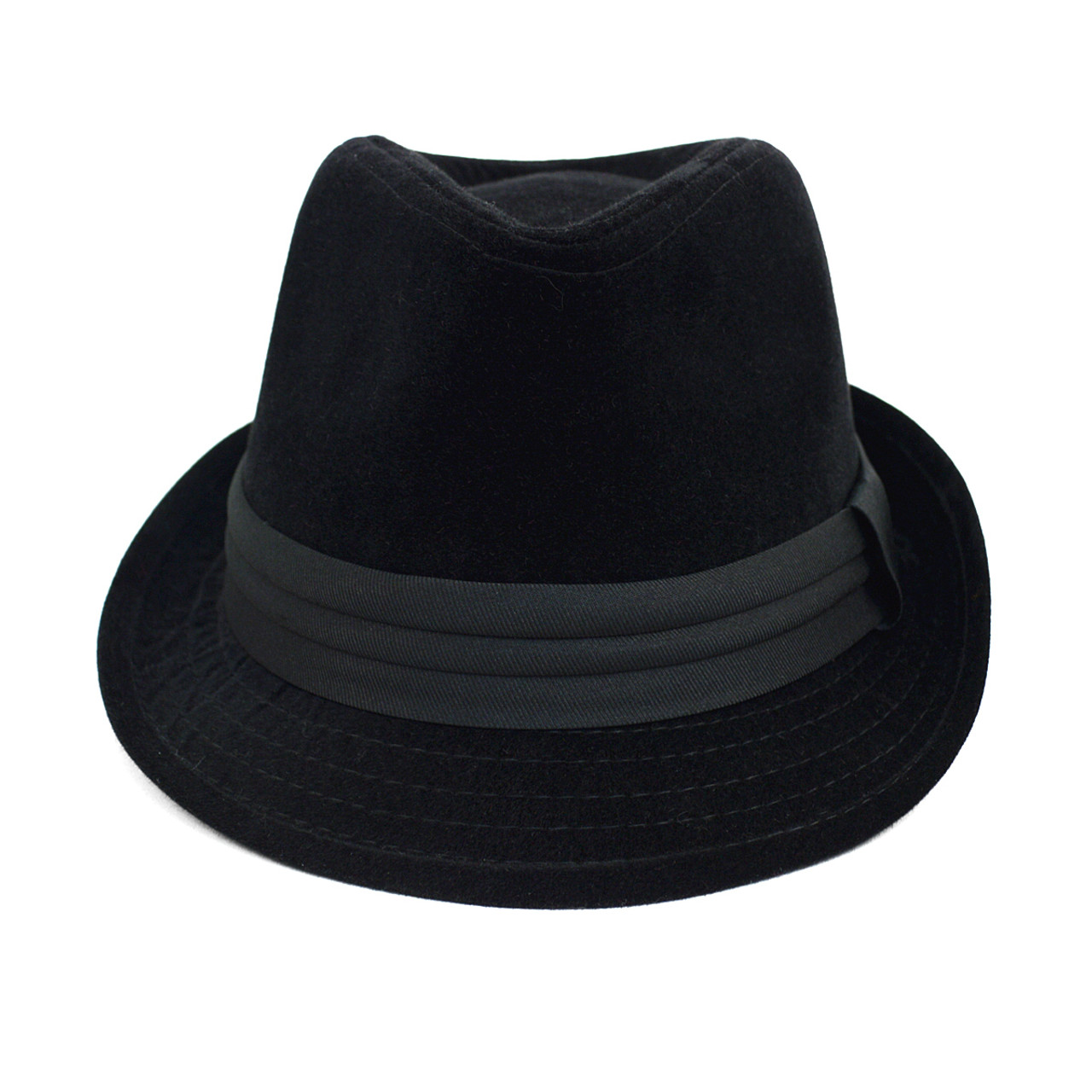 ... Fall Winter Velvet Trilby Fedora Hat with Band Trim H171226-BLK ... 84813872216