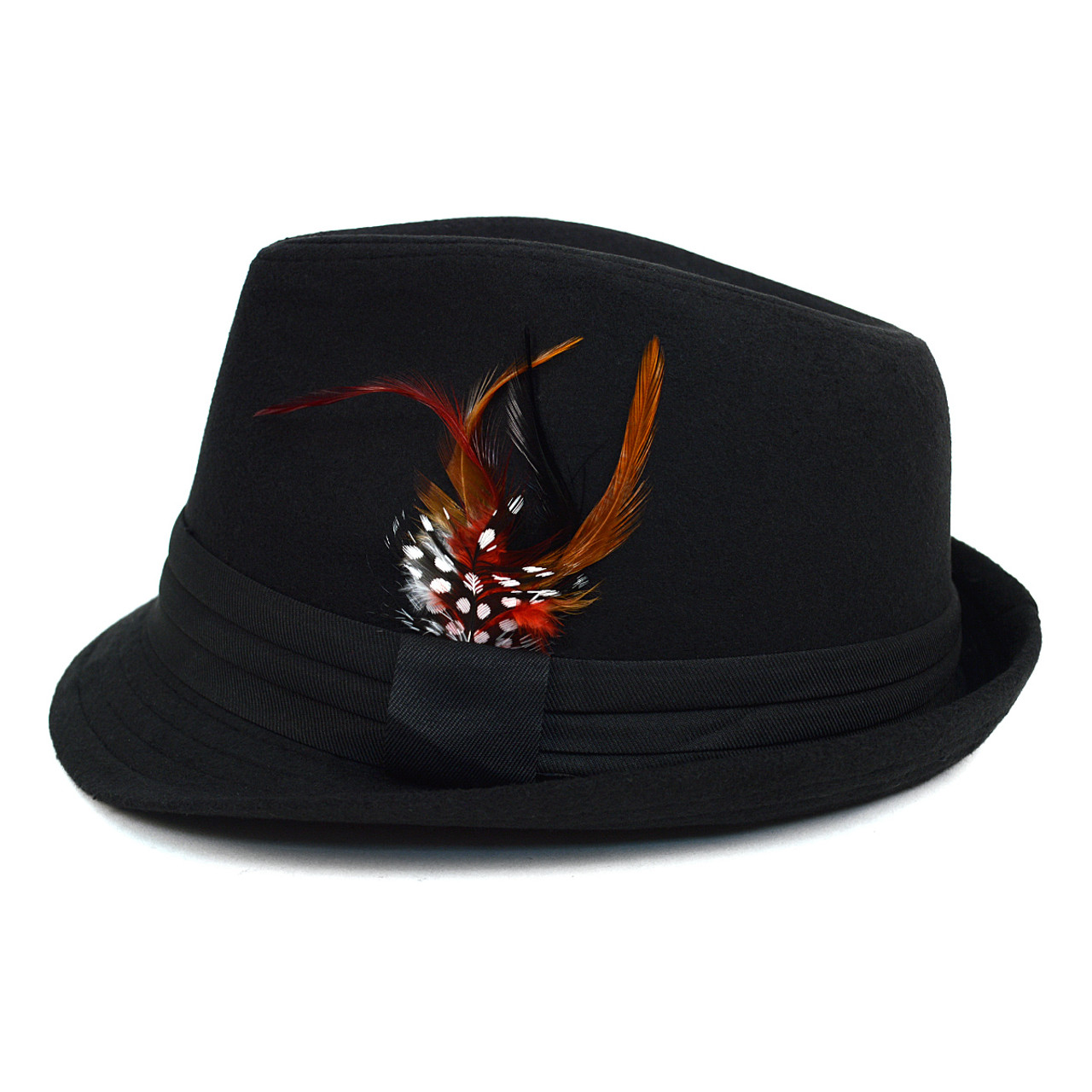 ... Fall Winter Trilby Fedora Hat with Feather Accent   Band Trim H10333-  ... 89c2ffd429c7