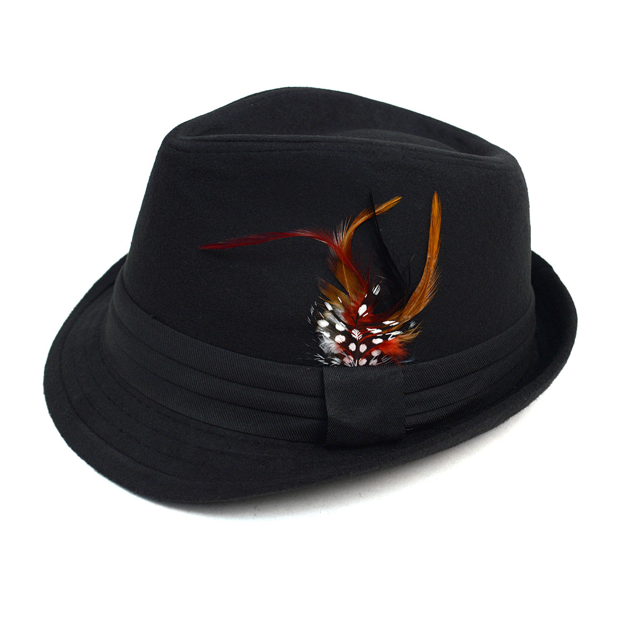 Fall Winter Trilby Fedora Hat with Feather Accent   Band Trim H10333- ... d28e26a1ce1b