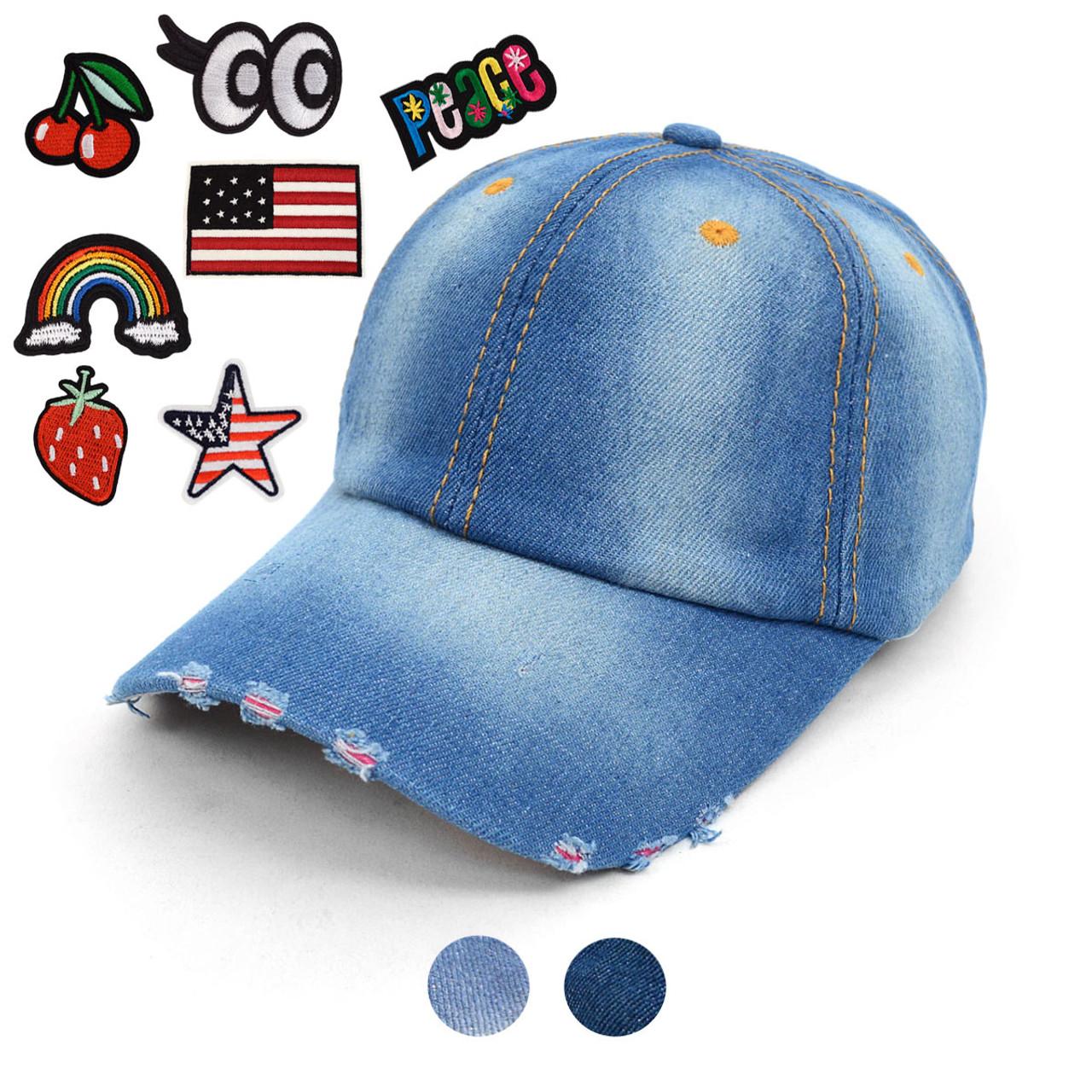 Blank or Patched Denim Baseball Cap JCAP ... d1672488ea2
