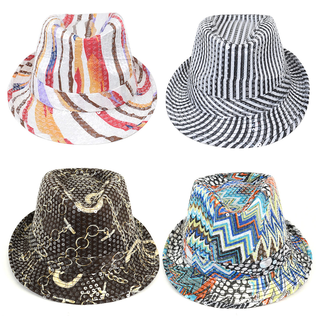 ... 60pc Assorted Sequin Fedora Hats H1024-CO ... dbfedcb90042