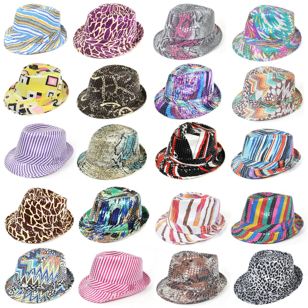 36pc Mixed Unisex Sequin Fedora Hats H1024-CO aeed88252e48