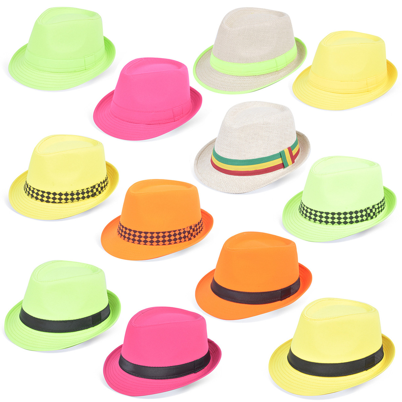 67dd199615bb4 120pc Mixed Unisex Neon Fedora Hats HNEON-CO ...