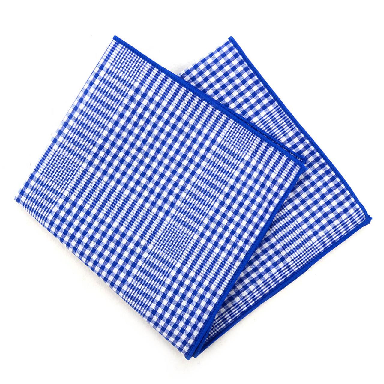 Slate Grey /& Blue Birdseye Check Pocket Square Handkerchief
